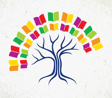 Education and learning concept with colorful abstract tree book.