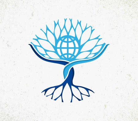 feuille arbre: Nous sommes tous un arbre de concept. Illustration