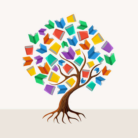 book design: Education and learning concept with colorful abstract tree book illustration.