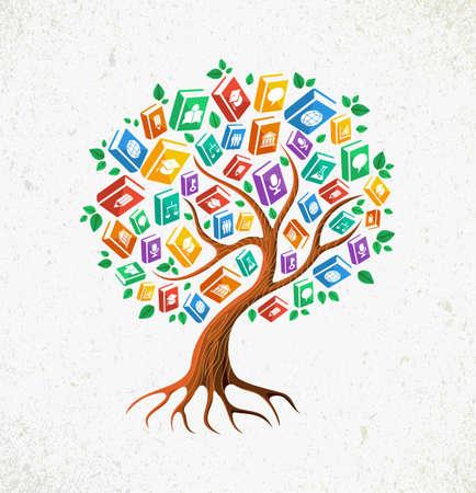 Onderwijs en terug naar school concept boom met leren onderwerpen pictogrammen boekillustratie. Stock Illustratie