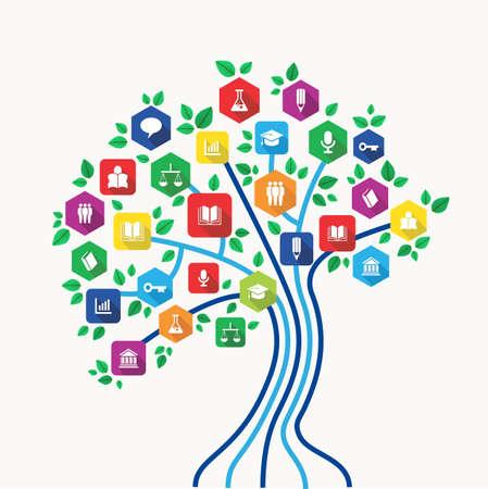 新しいメディア技術教育と学校の科目のアイコン セットに背中を e ラーニング概念ツリー。  イラスト・ベクター素材