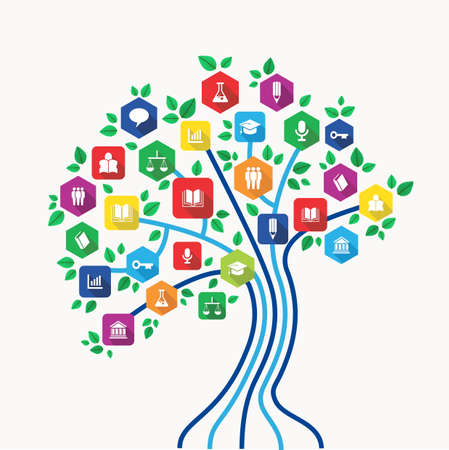 community: New media technology education and e-learning concept tree with back to school subjects icon set.  Illustration