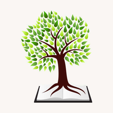 Education and learning concept with tree and book illustration background.
