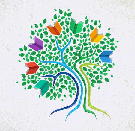 leggere libro: Apprendimento Istruzione e il concetto di crescita con colorato astratto libro illustrazione albero. Vettoriali