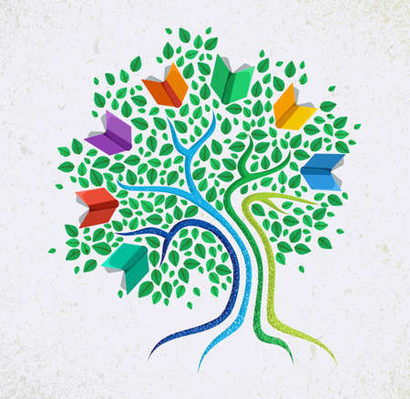 book design: Education learning and growth concept with colorful abstract tree book illustration.
