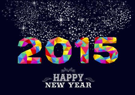 vintage etiket: Gelukkig Nieuwjaar wenskaart of poster ontwerp met kleurrijke driehoek 2015 vorm en vintage label afbeelding. EPS10 vector-bestand. Stock Illustratie