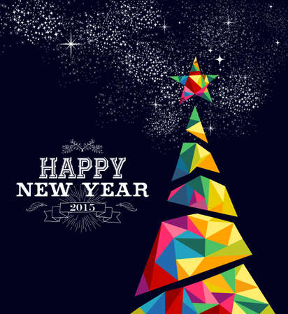 vector greeting card: Happy new year 2015 greeting card or poster design with colorful triangle tree and vintage label illustration. EPS10 vector file. Illustration