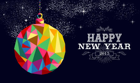 Happy new year 2015 greeting card or poster design with colorful triangle bauble ornament  and vintage label illustration. EPS10 vector file. Illustration
