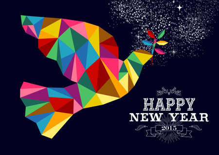 Happy new year 2015 greeting card or poster design with colorful triangle peace dove and vintage label illustration. EPS10 vector file. Illustration