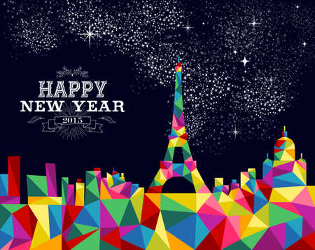 paris skyline: Happy new year greeting card or poster design with colorful triangle Paris skyline and vintage label illustration. EPS10 vector file. Illustration