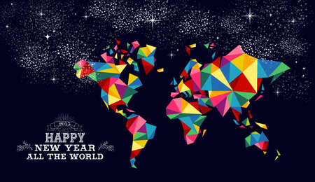 peace movement: Happy new year 2015 greeting card or poster design with colorful triangle world map and vintage label illustration. EPS10 vector file.