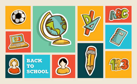 hand made: Back to school colorful hand drawn sketch icon set illustration. Education and learning concept ideal for app and web layout. EPS10 layered vector file.