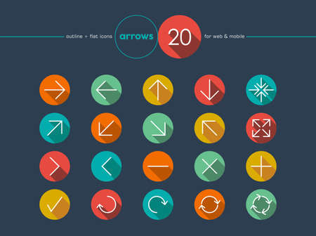 navigation buttons: Colorful arrows in outline style set for web and mobile app. EPS10 vector file organized in layers for easy editing. Illustration