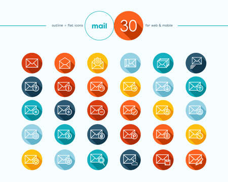 unread: Emailing colorful flat icons outline style set for web and mobile app. EPS10 vector file organized in layers for easy editing.