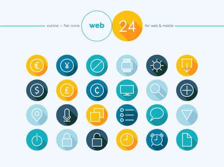 Colorful flat outline style icons set for Money converter website and mobile app. EPS10 vector file organized in layers for easy editing. Vector