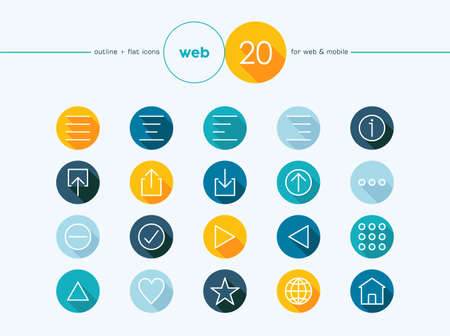 align: Web colorful outline style flat icons set for web and mobile app. EPS10 vector file organized in layers for easy editing. Illustration