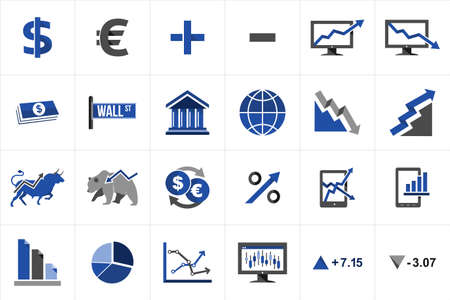 stock market exchange: Stock market exchange and finance icon set concept illustration. Ideas for website and app layout. Illustration