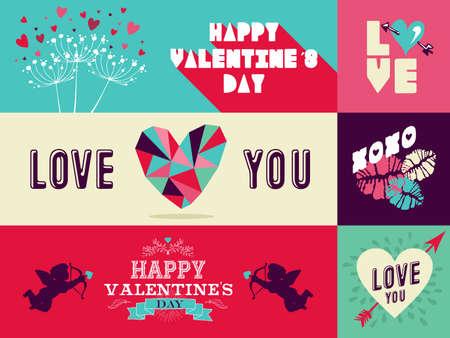 vintage etiket: Happy Valentines Day illustratie met diversiteit vintage label set. Ideaal voor web banner, wenskaarten, poster design en bruiloft uitnodiging.