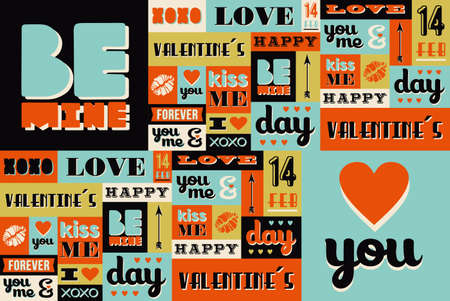 arty: Happy Valentines Day illustration with retro vintage fonts and labels set. Ideal for greeting card, poster design, wedding invitation and wrapping paper seamless pattern. Illustration