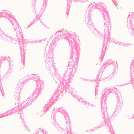 글로벌 협업 유방암 인식의 개념입니다. 손으로 그린 리본 기호로 만들어진 원활한 패턴 배경입니다. 일러스트