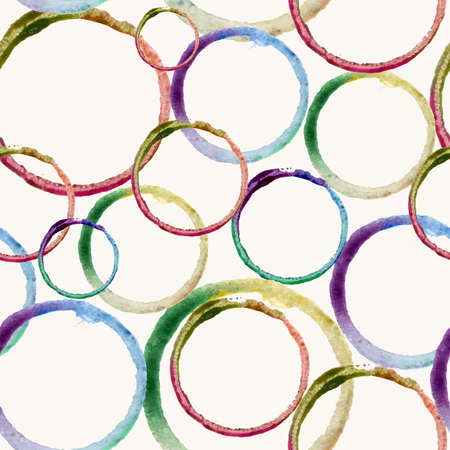 Hand drawn colorful watercolor circles stain art seamless pattern background. Ideal for fabric, wrapping paper and cover. vector file organized in layers for easy editing.