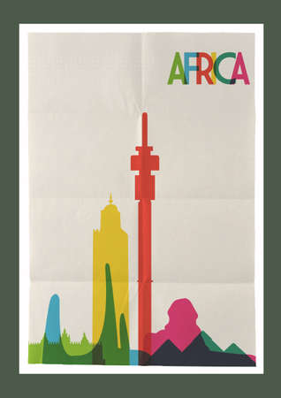 paper sheet: Travel Africa famous landmarks skyline on vintage paper sheet poster design background. Vector organized in layers for easy create your own postcard, brochure or marketing campaign.