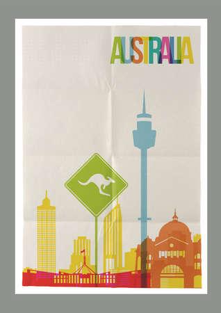 melbourne: Travel Australia famous landmarks skyline on vintage paper sheet poster design background.