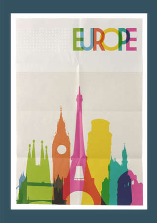 monument: Travel Europe famous landmarks skyline on vintage paper sheet poster design background.  Illustration