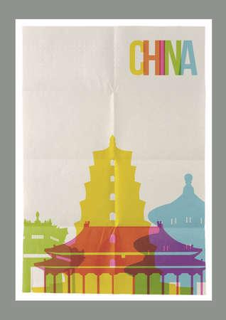 hong kong skyline: Travel China famous landmarks skyline on vintage paper sheet poster design background.