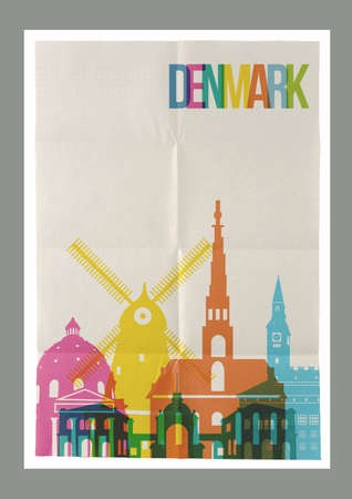 famous: 旅遊丹麥著名的地標天際線老式紙海報設計背景。 向量圖像