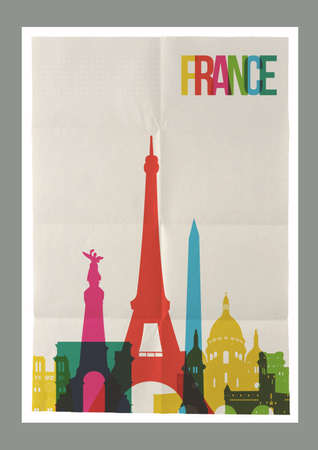 monument: Travel France famous landmarks skyline on vintage paper sheet poster design background. Vector organized in layers for easy create your own postcard, brochure or marketing campaign. Illustration