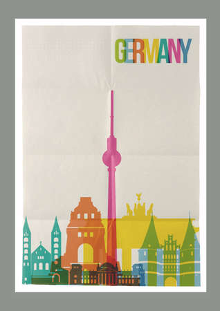 paper sheet: Travel Germany famous landmarks skyline on vintage paper sheet poster design background. Vector organized in layers for easy create your own postcard, brochure or marketing campaign.