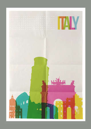 paper sheet: Travel Italy famous landmarks skyline on vintage paper sheet poster design background. Vector organized in layers for easy create your own postcard, brochure or marketing campaign.