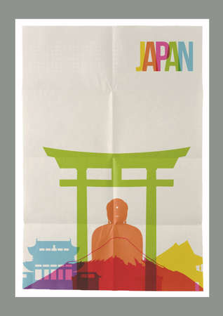 paper sheet: Travel Japan famous landmarks skyline on vintage paper sheet poster design background. Vector organized in layers for easy create your own postcard, brochure or marketing campaign. Illustration