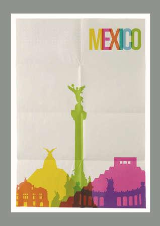angel de la independencia: Lugares de interés turístico de viajes a México horizonte en la hoja de papel diseño del cartel de fondo de la vendimia. Vector organizado en capas para facilitar la creación de su propia postal, folleto o campaña de marketing.