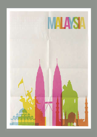 paper sheet: Travel Malaysia famous landmarks skyline on vintage paper sheet poster design background. Vector organized in layers for easy create your own postcard, brochure or marketing campaign. Illustration