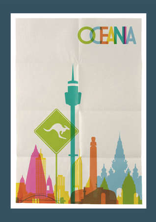 oceania: Travel Oceania famous landmarks skyline on vintage paper sheet poster design background. Vector organized in layers for easy create your own postcard, brochure or marketing campaign. Illustration