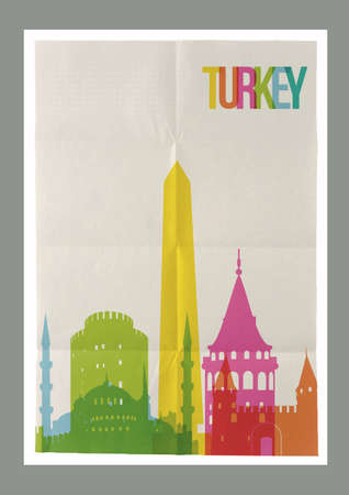 Travel Turkey famous landmarks skyline on vintage paper sheet poster design background. Vector organized in layers for easy create your own postcard, brochure or marketing campaign. Illustration