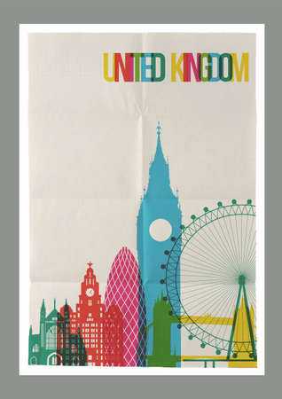 gherkin: Travel United Kingdom famous landmarks skyline on vintage paper sheet poster design background. Vector organized in layers for easy create your own postcard, brochure or marketing campaign. Illustration