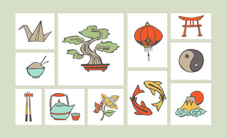 Set of chinese sketch style icon set illustration. Hand drawn Asian elements concept ideal for website icon, greeting card and poster design. EPS10 vector file. Vector
