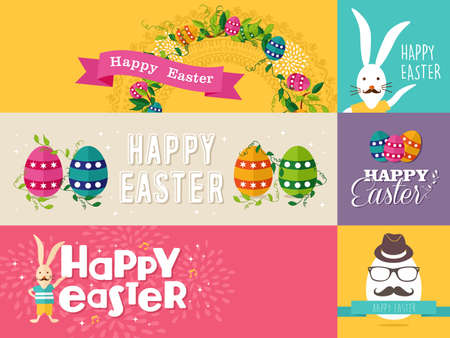 Set of colorful flat banners design for Happy Easter with flowers, eggs and rabbit elements. Ideal for greeting card, poster and website template. EPS10 vector file. Vector