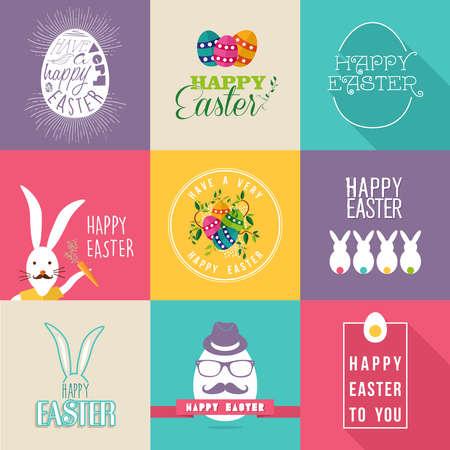 osterhase: Set mit bunten Flach Etiketten Design f�r Fr�hliche Ostern mit Blumen, Eier und Kaninchen Elemente. Ideal f�r Gru�karte, Poster und Web-Vorlage. EPS10-Vektor-Datei.