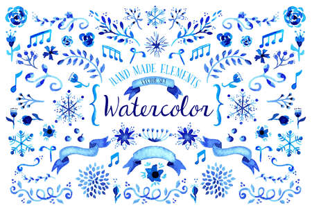 wedding backdrop: Set of hand drawn watercolor floral illustration set. Flower and leaves elements in blue for scrapbook, card and poster design. EPS10 vector file.