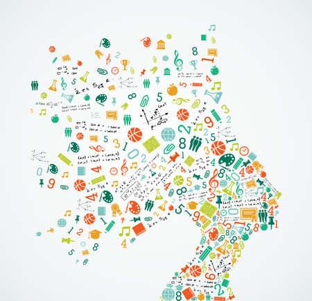 splash back: Woman head silhouette with education and school app icons splash concept illustration. EPS10 vector file. Illustration