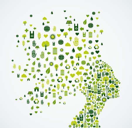 verde: Silueta de la cabeza de la mujer con la ecología y el medio ambiente iconos de aplicación splash concepto de ilustración. Archivo vectorial EPS10.