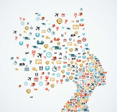 Silueta de la cabeza de la mujer con la logística y los iconos de aplicación de entrega splash concepto de ilustración. Archivo vectorial EPS10. Ilustración de vector