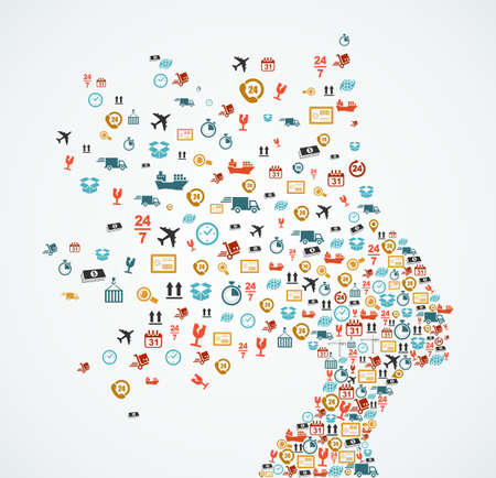 Vrouw hoofd silhouet met logistiek en levering app pictogrammen splash concept illustratie. EPS10 vector bestand.