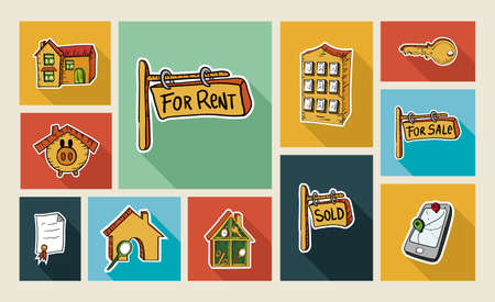 Real estate colorful hand drawn flat icon set illustration. Property concept ideal for app and web layout. EPS10 vector file. Vector
