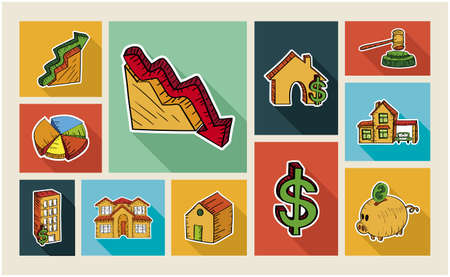 Real estate colorful hand drawn illustration flat icon set. Property concept ideal for app and website layout. EPS10 vector file. Vector