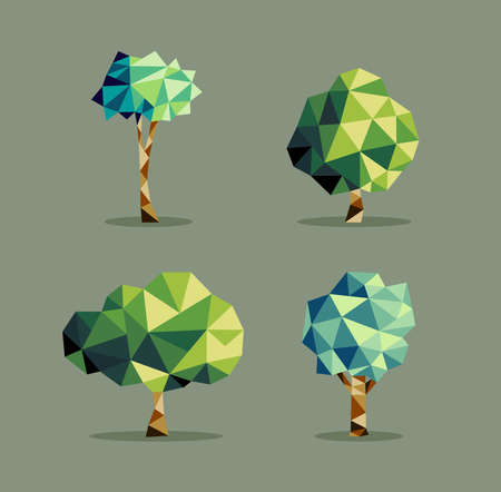 tree shape': Set of polygonal origami polygonal tree icon illustration. Ideal for web icon, ecology brochure and botany book cover. EPS10 vector file.